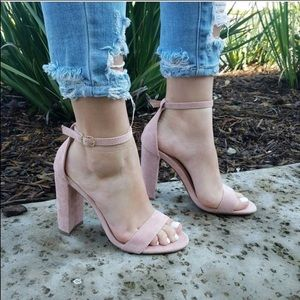 Blush Suede Chunky Heel Open Toe Sandals
